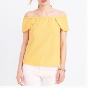 J. Crew yellow off shoulder top
